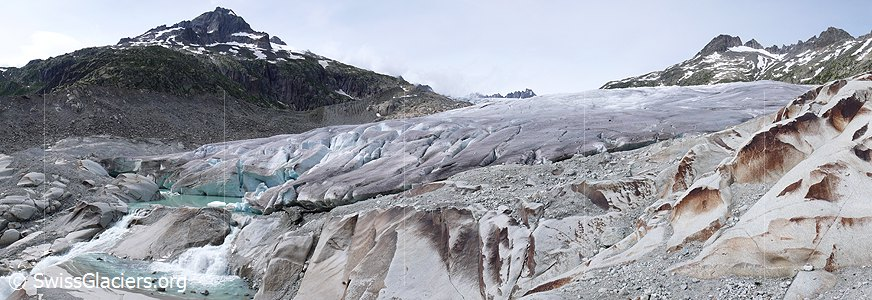 Before- after - comparison pictures of glacier melting at the Rhone Glacier  (Swiss Alps)